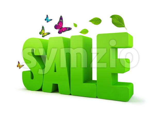 Sale Spring Green 3D Word Isolated in White Stock Photo