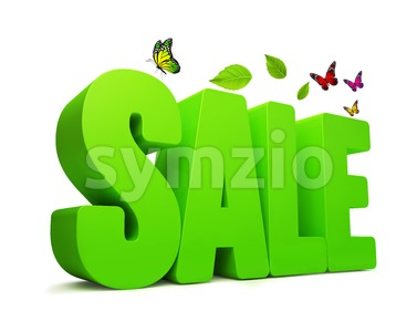 Sale Spring Green 3D Word Isolated Stock Photo