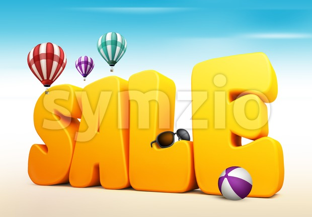 3D Summer Sale Word with Balloons Stock Photo