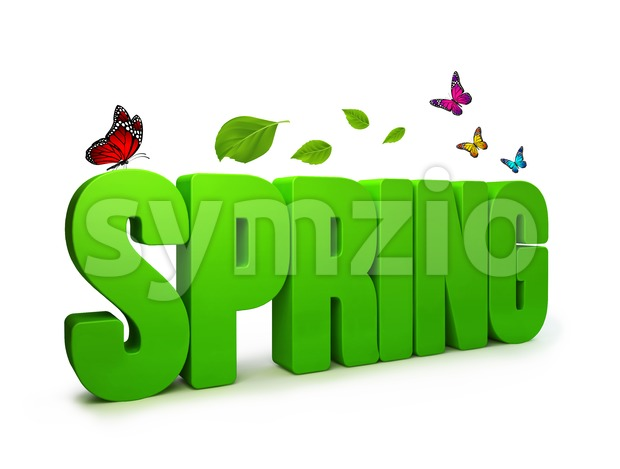 3D Rendered Spring Word Isolated Stock Photo