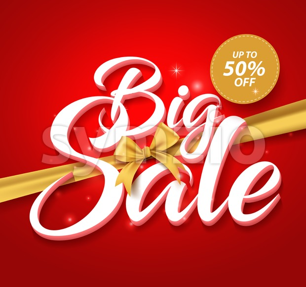 Big Sale Vector Text with Golden Ribbon in Red Stock Vector