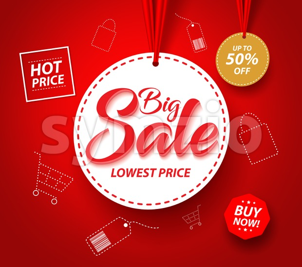 Big Sale Banner with Hanging Circle White Tag Price and Icons for Promotions in Red Background Vector Illustration. This vector sale was ...