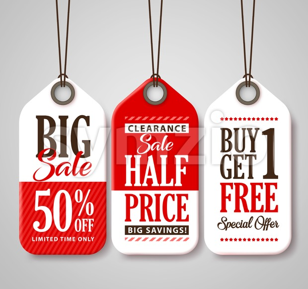 Sale Tag Design Collection Made of Paper with Different Titles for Promotion and Discounts Vector Illustration. This vector tags was design with ...