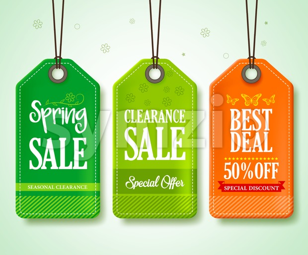 Spring Sale Tags Vector Set for Seasonal Stock Vector