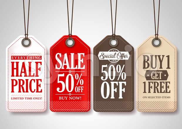 Vector Sale Tags Design Collection Hanging Stock Vector
