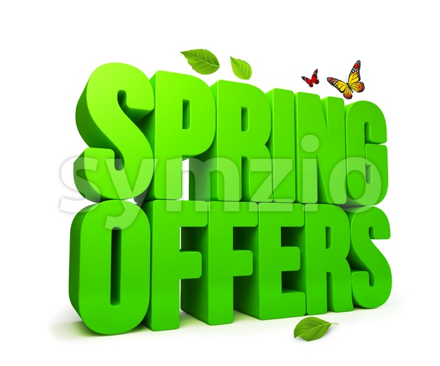 Spring Offers Green 3D Word Isolated Stock Photo