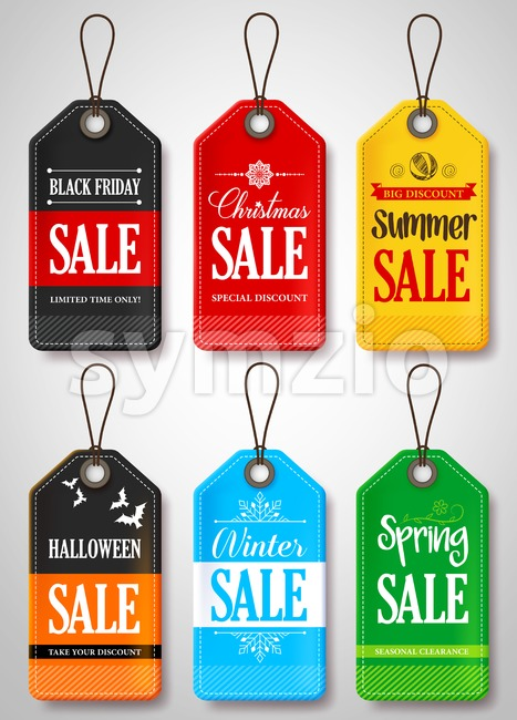 Seasonal Sale Tags for Black Friday, Christmas, Summer, Halloween, Winter and Spring for Store Promotion Vector Illustration. This vector tags was design ...