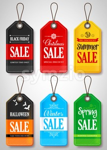 Vector Seasonal Sale Tags for Store Promotion Stock Vector