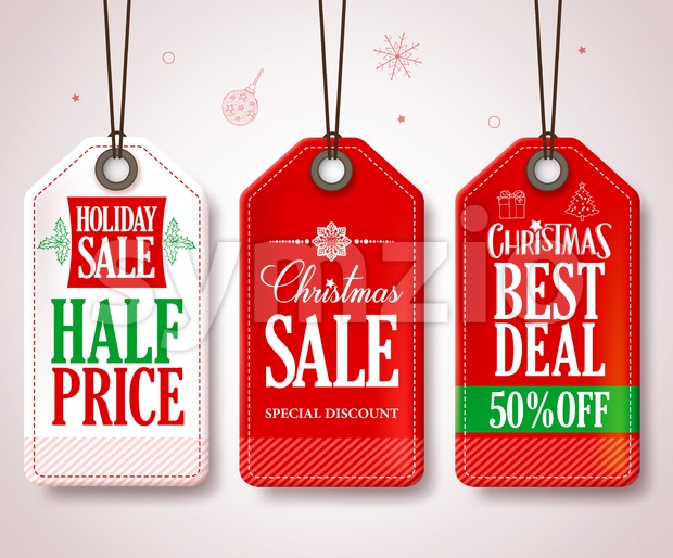 Christmas Sale Tags Set for Christmas Season Store Promotions Hanging with Red and White Colors. Vector Illustration. This vector tags was design ...