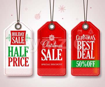 Christmas Sale Tags Vector Set for Promotions Stock Vector