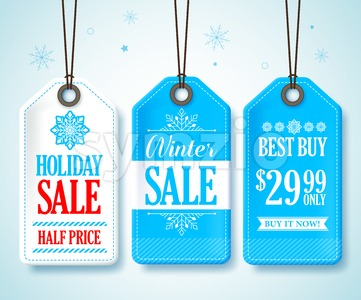 Winter Sale Tags Vector Set for Promotions Stock Vector