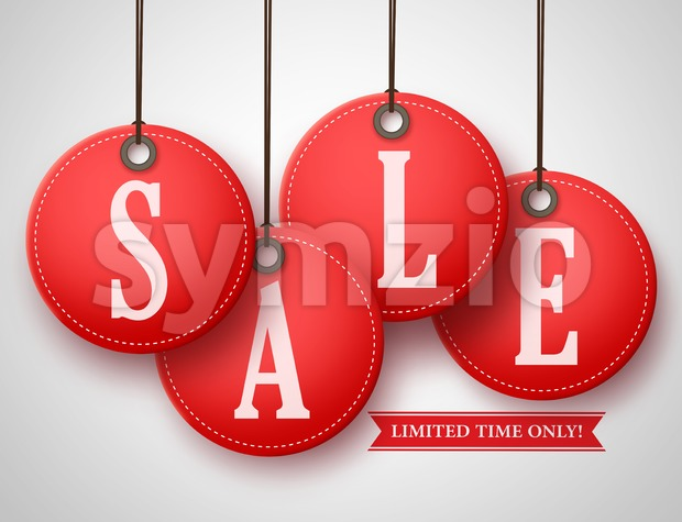 Vector Red Sale Tag Hanging for Store Promotion Stock Vector