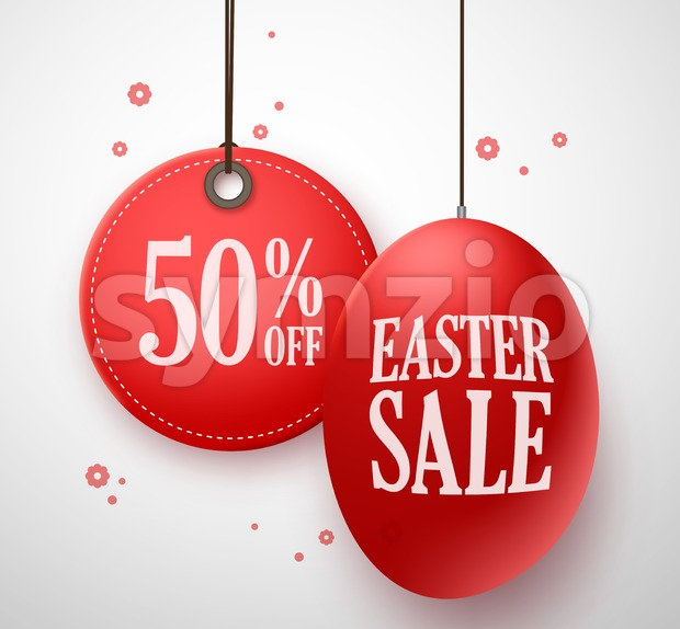 Easter Sale Red Egg for Store Promotion Stock Vector