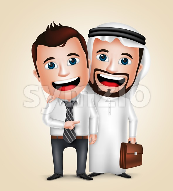 Arab businessman vector characters happy business partners showing friendship vector illustration. This vectorarab character was designed with 3D realistic looks and ...