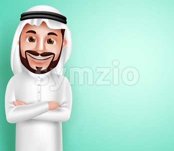 Saudi Arab Man Happy Posing Vector Character Stock Vector