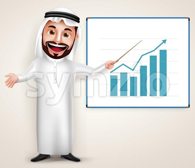 Professional Saudi Arab Man Vector Character with Chart Stock Vector