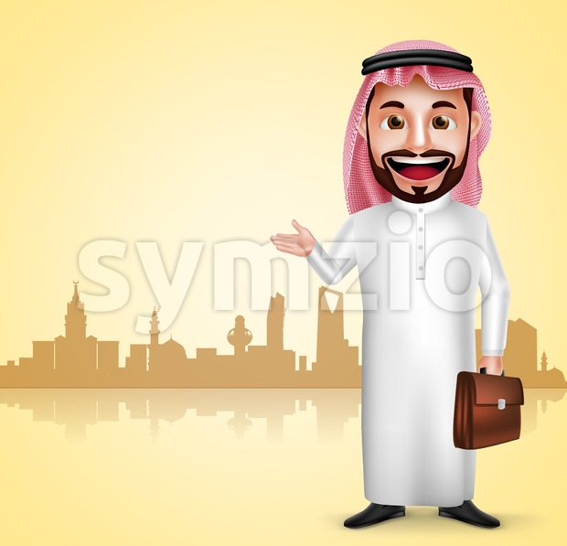 Saudi arab man traveling vector character wearing thobe showing city landmark in silhouette of Saudi Arabia for travel and tourism ...