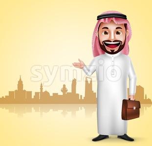 Saudi Arab Man Traveling Vector Character Stock Vector