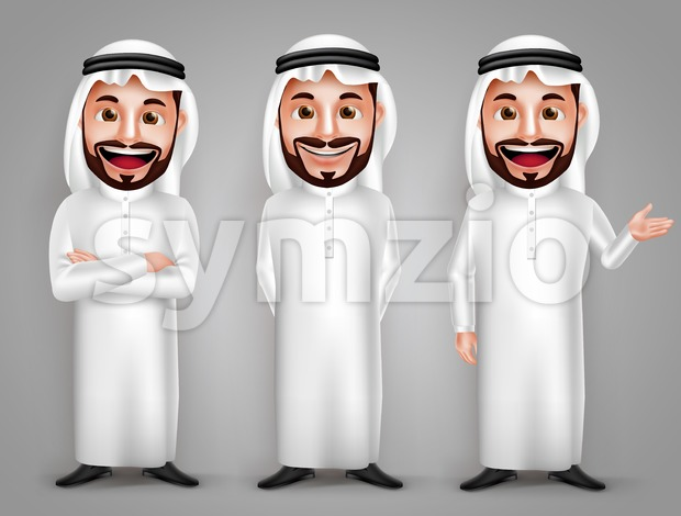 Saudi Arab Man Vector Character Set in Gestures Stock Vector