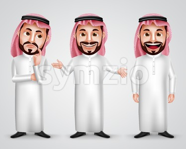 Saudi Arab Man Gestures Vector Character Set Stock Vector
