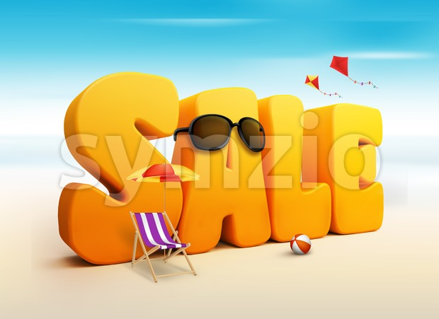 3D Summer Sale Word with Flying Kites, umbrella, Chair, Beach Ball and Sunglasses in the Beach or Sea Shore 3D Rendered ...