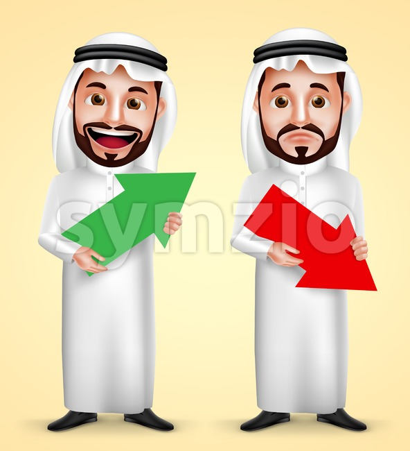 Saudi arab man vector character holding up and down arrow for business finance graph wearing white traditional dress with facial ...