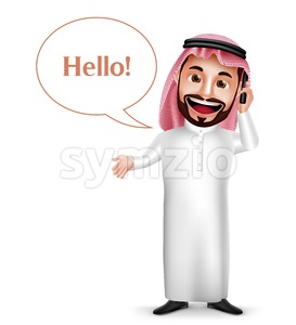 Saudi Arab Man Vector Character Holding Mobile Phone Stock Vector