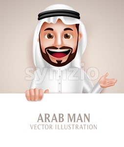 Saudi Arab Man Vector Character Holding White Stock Vector