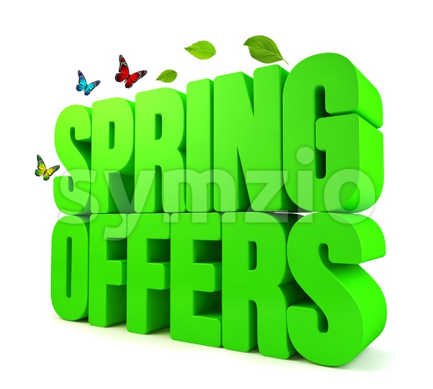 3D Spring Offers Green Word Isolated Stock Photo