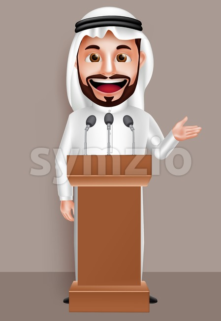 Saudi Arab Vector Character Talking with Microphone Stock Vector