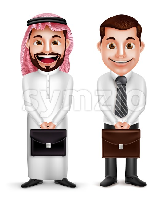 Saudi Arab Man Vector Characters Holding Briefcase Stock Vector