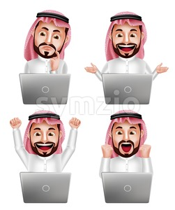 Set of Saudi Arab Man Vector Character with Laptop Stock Vector