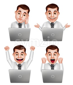 Professional Man Vector Character with Laptop Stock Vector