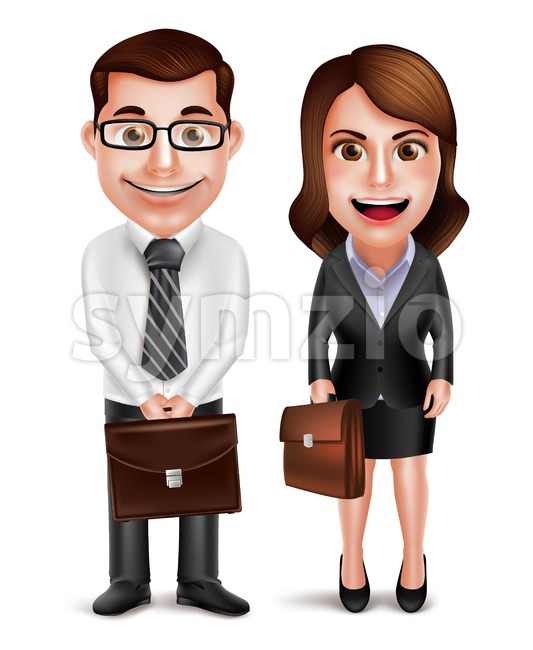 Business man and woman vector characters holding briefcase wearing formal corporate dress isolated in white background vector illustration. This vector man character was ...