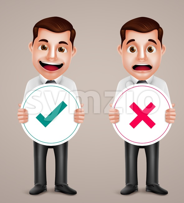 Set professional business man vector character holding right and wrong sign with happy and sad facial expressions vector illustration. This vector man character ...