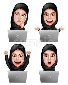 Muslim Arab Woman Working with Laptop Vector Stock Vector