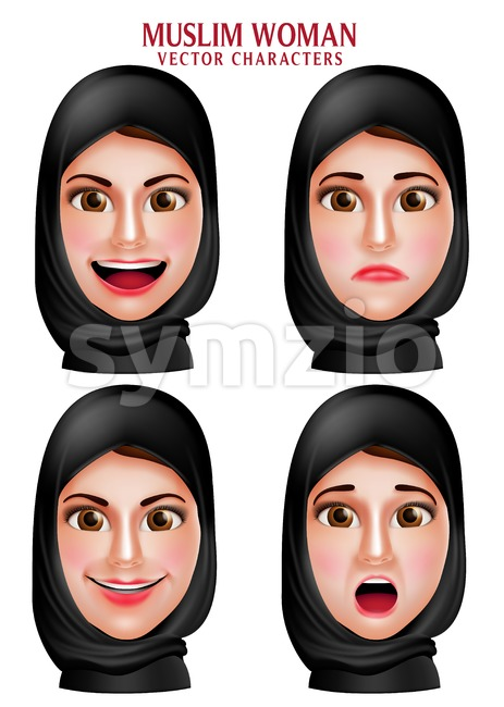 Muslim Woman Vector Characters Head Wearing Hijab Stock Vector