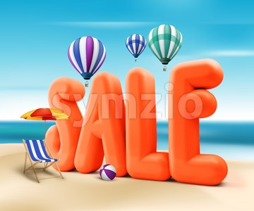 Sale Word Title for Summer Promotion Stock Photo