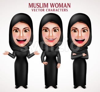 Muslim Woman Wearing Hijab Vector Characters Stock Vector