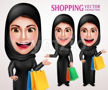 Shopping Muslim Woman Vector Character with Bags Stock Vector