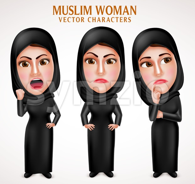 Angry Muslim Arab Woman Vector Characters with Veil Stock Vector