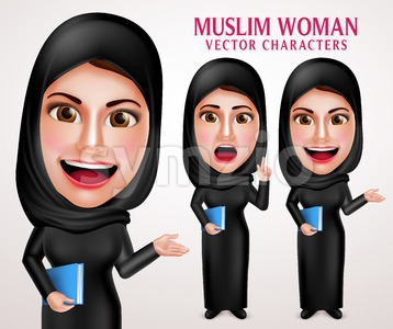 Muslim Woman Holding Book Vector Character with Hijab Stock Vector