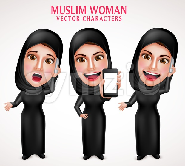 Muslim Woman Calling Mobile Vector Character Stock Vector