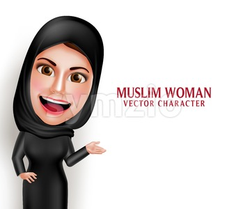 Muslim Woman Presenting Vector Character with Hijab Stock Vector