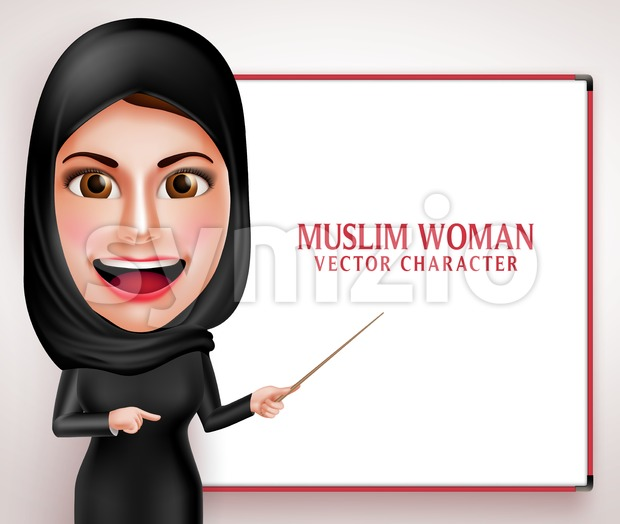 Muslim Woman Teaching or Presenting Vector Character Stock Vector