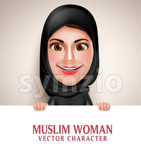 Muslim Arab Woman Holding White Vector Character Stock Vector