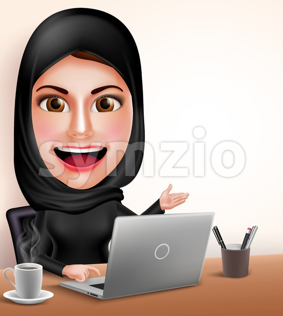 Muslim arab woman professional working with laptop in office desk vector character showing white space with friendly smile. Vector illustration. This ...