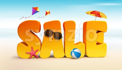 3D Sale Word for Summer Promotion Stock Photo