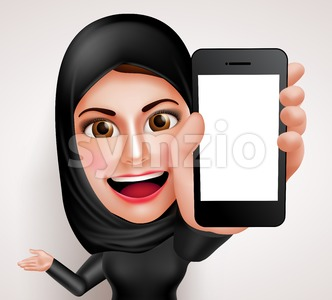 Arab Muslim Woman Holding Mobile Phone Character Stock Vector