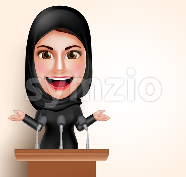 Muslim Arab Woman Talking in Microphone Character Stock Vector